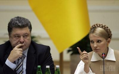 Петр Порошенко (слева) и Юлия Тимошенко