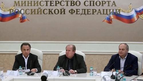 Слева направо: Виталий Мутко, Вадим Зелинченок и Юрий Нагорных