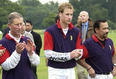 Слева направо: Принц Чарльз, Принц Уильям и султан Хассанал Болкиах