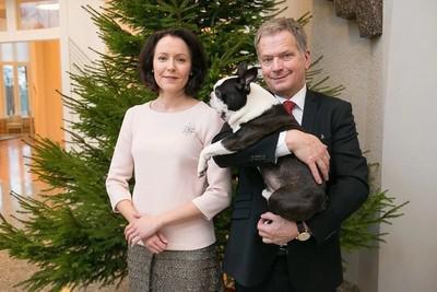 Саули Нийнисте с женой Йенни Хаукио и бостон-терьером Ленну