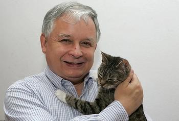 Лех Качиньский и кошка