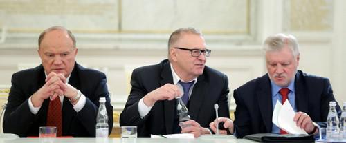 Слева направо: Геннадий Зюганов, Владимир Жириновский и Сергей Миронов